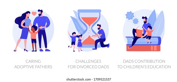 Children raising metaphors. Single father teaching son. Kids home education, divorced dads challenges, caring adoptive parents. Family life abstract concept vector illustration set.