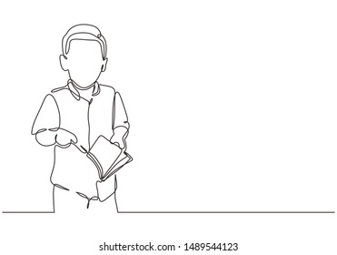 Children read book continuous one line drawing minimalism design. Vector illustration of kid reading and studying.