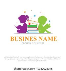 children read book dreams logo designs