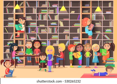 Children read in the library vector illustration. Kids study in atheneum. Clever young boys and girls read books. Schoolchildren self education. Public room with bookshelves. Wisdom friends Literature