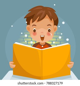 Children Reading a book.  boy  Surprise and grin. light is shining brightly with book. Children's Learning Concept.Vector illustration, cute style. cartoon on blue background.