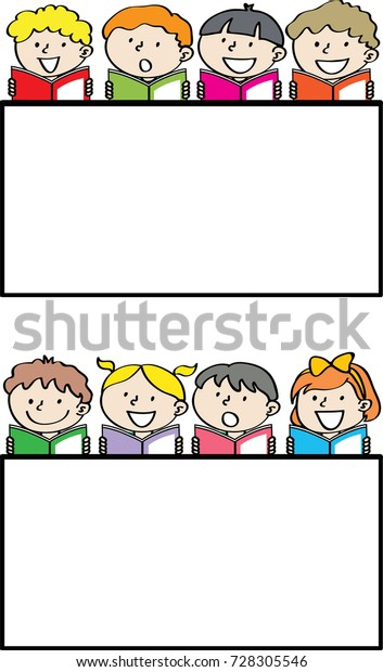 Border Template With Girls Reading Book Stock Vector - Illustration of  books, clipart: 104640244