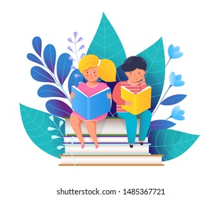 Children reading books flat vector illustration. Happy girl and boy sitting on textbooks stack cartoon characters. Smiling students studying, school education. Little kids and blue forest leaves