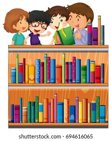 Children reading books in library illustration