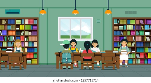 Children are reading books and researching in the library.