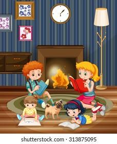 Children reading books in the room illustration