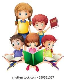 Children reading books together illustration