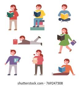 children reading books in various poses vector illustration flat design