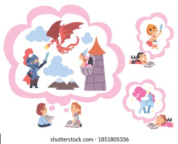 Children Reading Fairy Tail Fantasy Books, Kids Imagination Concept, Fairy Tales, Stories, Discoveries Cartoon Style Vector Illustration