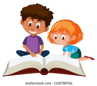 Children reading a giant book illustration