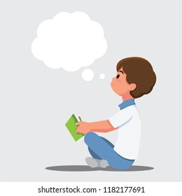 Children reading and imagination and the dreams of the future. .Vector illustration cartoon character.