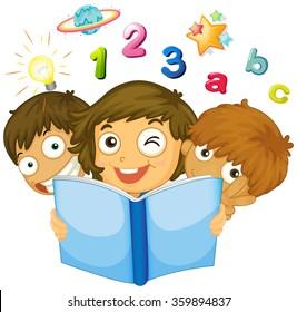 Children reading math book illustration