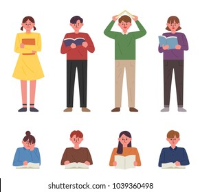 Children reading in various poses. hand drawing style vector illustration flat design
