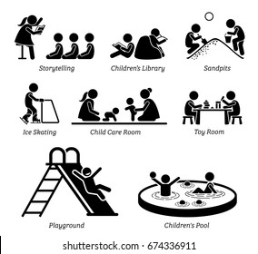 Children Recreational Facilities and Activities. Pictogram depicts children storytelling, kids library, playing at sandpits, ice skating, child care room, toy room, playground, and small pool.