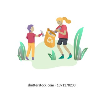 children Recycle Sort organic Garbage in different container for Separation to Reduce Environment Pollution. Girl and boy kids collect garbage in bag. Environmental day vector cartoon illustration