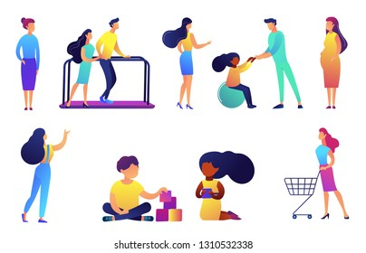 Children rehabilitation and education centre vector illustrations set. Nurse, children learning and physical therapy, tiny people concept. Vector illustrations set isolated on white background.