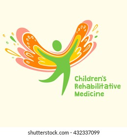 Children rehabilitation medicine. Vector logo depicting the silhouette of a healthy, happy child.