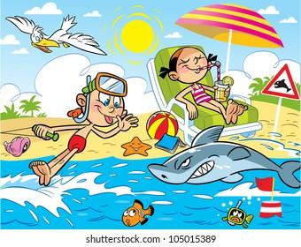 Cartoon Beach Images Stock Photos Amp Vectors Shutterstock