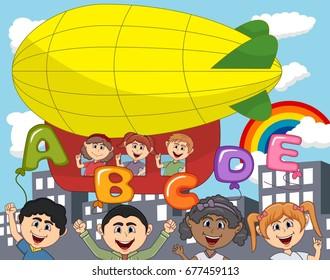 Children ride a zeppelin and letter balloon cartoon vector illustration