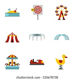 Children rides icons set. Flat illustration of 9 children rides vector icons for web