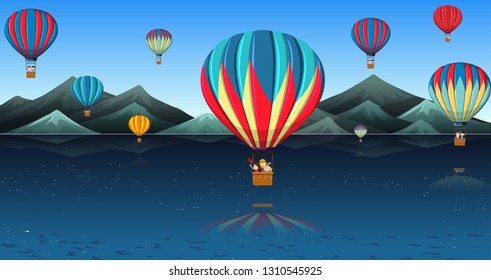 Children riding hot air balloon illustration