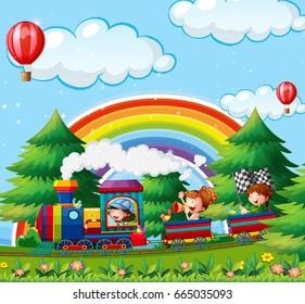 Children riding on train in the park illustration