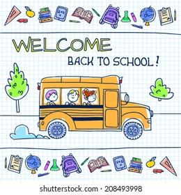 Children riding school bus. Vector illustration.