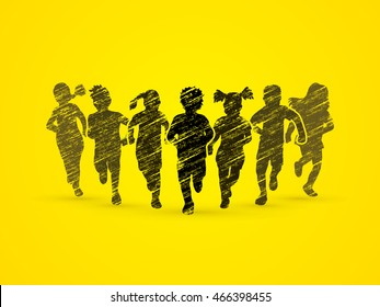 Children running, Designed using grunge brush graphic vector.