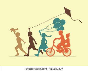 Children running, Friendship graphic