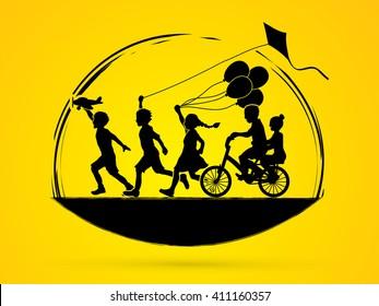 Children running, Friendship graphic vector.