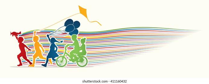 Children running, Friendship with line rainbows movement graphic