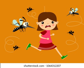 children running out of mosquito hunting group