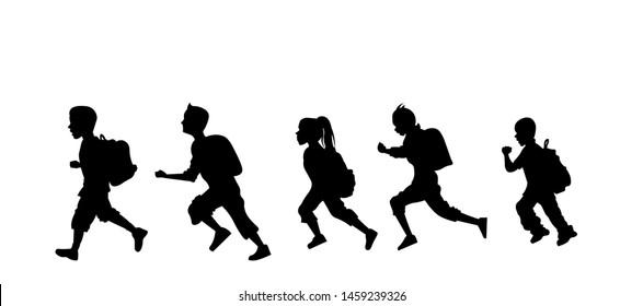 Children running to school silhouette. Back to school concept.