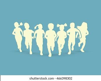 Children running silhouette graphic vector.