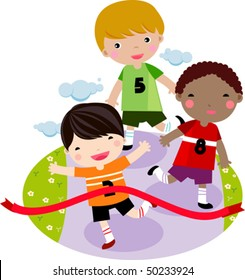 Children running together in a race