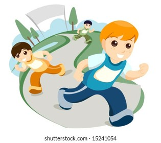 Children Running - Vector