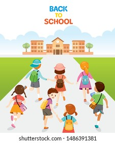 Children Running And Walking Back To School In Back, Educational, Knowledge