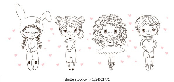 Children s coloring with cute characters. A linear doodle sketch, a ballerina, a boy in shorts, a girl in pajamas and a rabbit carnival costume. Vector illustration.