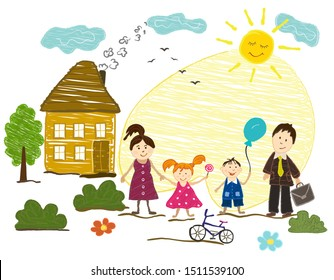 Children s drawing on the theme of family. Children and adults, mom, dad, daughter, son, home and sun. Vector illustration