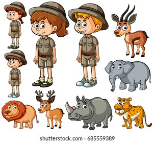 Children in safari outfit and many wild animals illustration