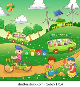 children Save our green world.EPS10 File  simple Gradients