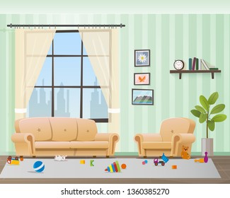 Children Scattered Toys in Messy Empty Living Room. Baby made Chaos in Home Interior. Playful Kid Untidy Disorder Hause Space. Muddy Indoor Design. Flat Cartoon Vector Illustration