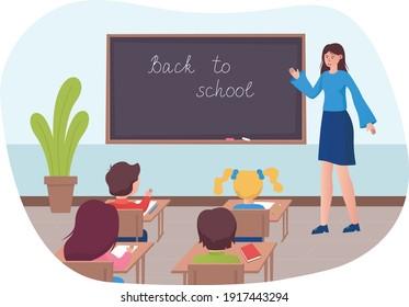 Children at school desk, teacher with a blackboard. Flat design illustration. Vector