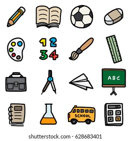 children, school objects, icons set / cartoon vector and illustration, hand drawn style, isolated on white background.