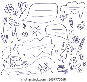 Children and school supplies on a white background. Children's drawing. Vector illustration.