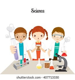 Children In Science Class Experimenting, Back to school, Stationery, Book, Children, Knowledge, Supplies, Educational Subject