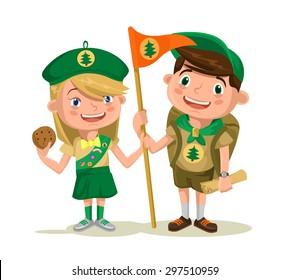 Children scouts. Vector flat cartoon illustration