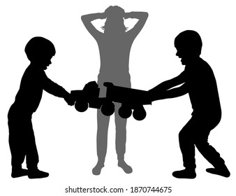 Children scream and fight over a toy. Woman holding her head. Mom listens to tantrums. Life situation. Vector silhouette