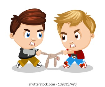 Children scuffle. Boy, troublemaker offends her friend, takes away toy. Concept of children's conflicts, problems, quarrels, relationships. Cartoon illustration, isolated on white background.