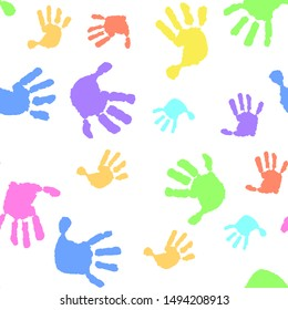Children seamless pattern of hand print. Kid handprint background. Vector illustration of a prints of palms. Children's hands, baby palms, watercolor.